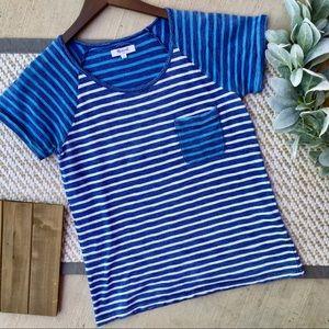Madewell Blue and White Striped Shirt Sleeve Tee